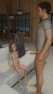 Rating: Explicit Score: 1 Tags: 1boy 1girl 3dcg age_difference barefoot brown_hair couple flat_chest kirkylol looking_at_partner navel nipples nude penis photorealistic pussy sitting smile standing User: fantasy-lover