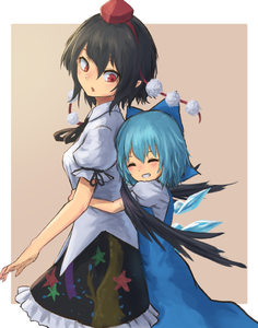 Rating: Safe Score: 0 Tags: 2girls :o black_hair black_ribbon black_wings blue_bow blue_dress blue_hair blush bow breasts cirno closed_eyes collared_shirt dress frilled_skirt frills grin hair_bow hat height_difference hug hug_from_behind ice ice_wings looking_back multiple_girls neck_ribbon patterned_clothing pointy_ears pom_pom_(clothes) puffy_sleeves red_hair red_hat ribbon roke_(taikodon) shameimaru_aya shirt short_hair short_sleeves simple_background skirt sleeveless sleeveless_dress smile star tan_background tokin_hat touhou_project white_background white_shirt wing_collar wings User: Domestic_Importer