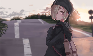 Rating: Safe Score: 0 Tags: 1girl asymmetrical_hair backpack bag beanie black_coat black_hoodie blonde_hair coat cross cross_earrings earrings from_behind hair_over_one_eye hat hood hood_down hoodie idolmaster idolmaster_cinderella_girls jewellery light_smile looking_back outdoors red_eyes road road_sign sawarakajin shirasaka_koume short_eyebrows sign sleeves_past_wrists standing sunrise sunset twilight upper_body User: DMSchmidt