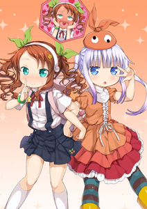 Rating: Safe Score: 2 Tags: 2girls 3: :d absurdres alternate_hairstyle aqua_eyes bangle blue_eyes blush bracelet brown_hair center_frills cherry_print cosplay dress eyebrows_visible_through_hair finger_to_mouth flower food_print full-face_blush furrowed_eyebrows gradient gradient_background green_ribbon hachikuji_mayoi hachikuji_mayoi_(cosplay) hair_flower hair_ornament hair_ribbon hairband hands_on_own_cheeks hands_on_own_face heart heart_in_mouth highres jewellery kanna_kamui kneehighs kobayashi-san_chi_no_maidragon lavender_hair layered_dress locked_arms miyabeeya monogatari_(series) multiple_girls ononoki_yotsugi ononoki_yotsugi_(cosplay) open_mouth pantyhose puffy_short_sleeves puffy_sleeves red_ribbon ribbon saikawa_riko shirt short_sleeves skirt smile sparkle star striped striped_legwear suspender_skirt suspenders twin_tails w w_over_eye wavy_hair wavy_mouth white_legwear white_shirt User: Domestic_Importer