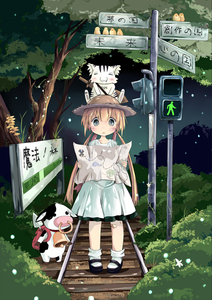 Rating: Safe Score: 0 Tags: 1girl :3 absurdres animal animal_on_head backpack bad_id bag bandaid bell bird blonde_hair blush cat cow cow_bell dress fang fireflies firefly forest grey_eyes hat highres lights long_hair map nature open_mouth original pigeon-toed railroad_tracks sakuraba_hikaru_(loveindog) sign signpost sitting standing straw_hat sword traffic_light tree twin_tails weapon white_dress User: Domestic_Importer