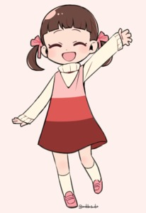 Rating: Safe Score: 0 Tags: 1girl :d arm_up bangs blunt_bangs brown_hair closed_eyes do_m_kaeru doujima_nanako dress full_body hair_ribbon kneehighs long_sleeves open_mouth persona persona_4 pink_background pink_footwear pink_ribbon ribbon shoes short_twin_tails simple_background sleeveless sleeveless_dress smile solo standing sweater turtleneck turtleneck_sweater twin_tails twitter_username waving white_legwear white_sweater |d User: DMSchmidt