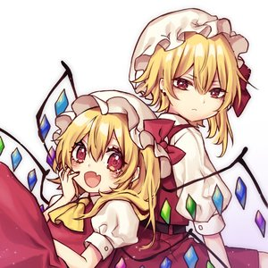 Rating: Safe Score: 0 Tags: 2girls ascot bangs blonde_hair blush bow coloured_eyelashes crystal dual_persona eyebrows_visible_through_hair fang flandre_scarlet gradient gradient_background hair_between_eyes hand_on_own_cheek hand_up hat hat_bow hat_ribbon highres kyouda_suzuka light_particles long_hair looking_at_viewer mob_cap multiple_girls one_side_up open_mouth puffy_short_sleeves puffy_sleeves purple_background red_bow red_eyes red_ribbon red_skirt red_vest ribbon shirt short_sleeves sitting skirt skirt_set smile touhou_project vest white_background white_hat white_shirt wings yellow_neckwear User: DMSchmidt