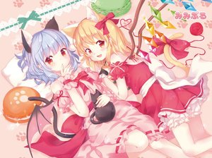 Rating: Safe Score: 0 Tags: 2girls adapted_costume all_fours animal_ears artist_name bare_shoulders bat_wings bent_knees black_cat blonde_hair bloomers bow bowtie cat cat_day cat_ears cat_tail crystal detached_sleeves dress feet_out_of_frame finger_to_mouth flandre_scarlet hair_ribbon heart heart_of_string lavender_hair looking_at_viewer lying medium_hair mimi_(mimi_puru) multiple_girls no_hat no_headwear open_mouth paw_print pillow pink_dress puffy_sleeves red_bow red_dress red_eyes red_ribbon remilia_scarlet ribbon ribbon-trimmed_dress sash side_ponytail strapless strapless_dress tail tail_ribbon touhou_project underwear wings wrist_cuffs yarn yarn_ball User: DMSchmidt