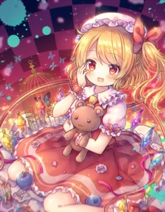Rating: Safe Score: 0 Tags: 1girl :d birdcage blonde_hair blueberry blurry blush bow cage checkered checkered_background chromatic_aberration crystal fang flandre_scarlet food frilled_shirt_collar frills fruit hair_bow hand_on_own_cheek hand_on_own_face hand_up hat mob_cap object_hug one_side_up open_mouth pjrmhm_coa puffy_short_sleeves puffy_sleeves red_bow red_eyes red_skirt red_vest shirt short_sleeves sitting skirt smile solo stuffed_animal stuffed_toy teddy_bear touhou_project vest wariza white_hat white_shirt wings wrist_cuffs User: DMSchmidt