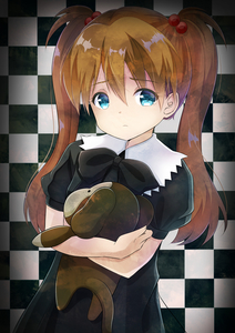 Rating: Safe Score: 1 Tags: 1girl absurdres bangs black_bow black_dress blue_eyes bow brown_hair checkered checkered_background closed_mouth dress eyebrows_visible_through_hair fingernails hair_between_eyes hair_bobbles hair_ornament highres inahori long_hair looking_at_viewer neon_genesis_evangelion object_hug puffy_short_sleeves puffy_sleeves short_sleeves sidelocks solo souryuu_asuka_langley stuffed_monkey twin_tails younger User: DMSchmidt