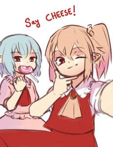 Rating: Safe Score: 1 Tags: 2girls ascot blue_hair candy eating english eyebrows_visible_through_hair flandre_scarlet food frilled_shirt frilled_shirt_collar frills hair_between_eyes highres in_mouth lollipop looking_at_viewer multiple_girls no_hat no_headwear one_eye_closed pointy_ears pose puffy_short_sleeves puffy_sleeves red_eyes remilia_scarlet self_shot shirt short_hair short_sleeves siblings side_ponytail simple_background sisters skirt skirt_set smile touhou_project upper_body white_background yoruny User: DMSchmidt