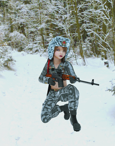 Rating: Questionable Score: 3 Tags: 1girl 3dcg belt blue_eyes boots brown_hair flat_chest gloves gun hat kneeling long_hair looking_at_viewer milana_k navel nevyn open_mouth outdoors photorealistic pose snow weapon User: fantasy-lover