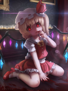 Rating: Safe Score: 2 Tags: 1girl bat_wings blonde_hair blood blood_on_face blood_on_fingers bow buttons candle flandre_scarlet hat hat_bow highres indoors looking_at_viewer mary_janes mob_cap novcel red_eyes shoes sitting skirt socks solo touhou_project vampire wariza white_legwear wings wooden_floor User: Domestic_Importer