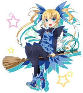 Rating: Safe Score: 0 Tags: 1girl black_legwear blonde_hair blue_eyes blue_skirt blush broom broom_riding creature full_body gunbird hair_ribbon jewellery long_hair marion necklace pantyhose pomupomu ratryu ribbon shoes skirt smile solo star twin_tails white_background User: DMSchmidt