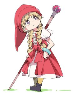 Rating: Safe Score: 1 Tags: 1girl :t blonde_hair braid closed_mouth dragon_quest dragon_quest_xi dress hair_over_shoulder hat ixy long_hair looking_up pout pouty_lips purple_eyes red_dress red_hat simple_background solo staff standing twin_braids veronica_(dq11) white_background User: DMSchmidt