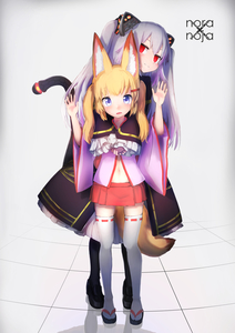 Rating: Safe Score: 0 Tags: 2girls absurdres animal_ear_fluff animal_ears arms_up bell black_dress black_legwear blonde_hair blue_eyes cat_ears detached_sleeves dress empty_eyes fake_animal_ears fox_ears fox_tail fukutchi grey_hair hair_ornament hairclip hands_together highres hug hug_from_behind jingle_bell kemomimi_oukoku_kokuei_housou long_hair mikoko_(kemomimi_oukoku_kokuei_housou) miniskirt multiple_girls nora_cat nora_cat_channel open_mouth pantyhose pink_shirt red_eyes red_skirt sandals shirt shoes skirt smile tabi tail thighhighs twin_tails two_side_up virtual_youtuber white_legwear User: DMSchmidt