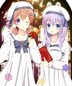 Rating: Safe Score: 0 Tags: 2girls :o ;) alternate_hairstyle angora_rabbit animal bangs bell blue_eyes blue_neckwear blush bow bowtie braid breasts bunny chestnut_mouth closed_eyes closed_mouth collarbone collared_dress dress eyebrows_visible_through_hair gochuumon_wa_usagi_desu_ka? hair_between_eyes hair_ornament hair_scrunchie hairclip hat highres holding holding_bell hoto_cocoa kafuu_chino light_blue_hair long_hair long_sleeves looking_at_viewer low_twintails matching_outfit multiple_girls one_eye_closed open_mouth orange_hair purple_eyes ryoutan sailor_collar scrunchie sidelocks small_breasts smile snowflakes striped_neckwear tippy twin_braids twin_tails upper_body white_dress white_hat white_scrunchie window x_hair_ornament User: DMSchmidt