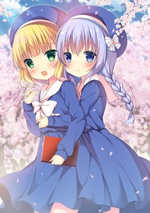 Rating: Safe Score: 0 Tags: 2girls :d alternate_costume alternate_hairstyle bangs beret blonde_hair blue_eyes blue_hair blue_hat blue_shirt blue_skirt blue_sky blunt_bangs blush book bow braid branch cherry_blossoms closed_mouth cloud cowboy_shot day dress flat_chest gochuumon_wa_usagi_desu_ka? green_eyes hat hat_bow holding holding_book hug hug_from_behind kafuu_chino kirima_sharo long_hair long_sleeves looking_at_viewer multiple_girls niki_(aroma_terrace) open_mouth outdoors petals sailor_collar sailor_dress school_uniform shibainu_niki shirt short_hair sidelocks skirt sky smile striped striped_bow tree twin_braids white_bow white_collar yuri User: DMSchmidt