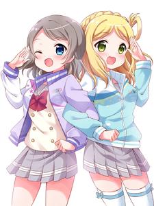 Rating: Safe Score: 1 Tags: 2girls :d ;d blonde_hair blue_eyes blue_jacket bow bowtie braid clenched_hand cowboy_shot crown_braid double-breasted green_eyes grey_hair grey_skirt hair_rings highres jacket locked_arms long_sleeves looking_at_viewer love_live!_school_idol_project love_live!_sunshine!! medium_hair multiple_girls ohara_mari one_eye_closed open_mouth pipette1223 pleated_skirt purple_jacket red_neckwear salute school_uniform serafuku short_hair simple_background skirt smile thighhighs uranohoshi_school_uniform watanabe_you white_background white_legwear User: DMSchmidt
