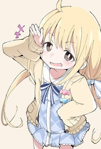 Rating: Safe Score: 1 Tags: 1girl ahoge beige_background blonde_hair blush brown_eyes eyebrows_visible_through_hair futaba_anzu hand_on_hip idolmaster idolmaster_cinderella_girls ixy long_hair low_twintails open_mouth ribbon simple_backgro simple_background sleeves_past_fingers sleeves_past_wrists solo twin_tails User: Domestic_Importer