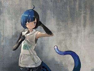 Rating: Safe Score: 2 Tags: 1girl ahoge black_eyes black_hair blue_eyes blue_hair blush closed_mouth hair_ornament hand_on_own_chest hand_up heterochromia highres hood hood_down hoodie japanese_skink_(kamemaru) kamemaru lizard_tail monster_girl multicoloured_hair original scales short_hair sleeveless sleeveless_hoodie solo standing tail two-tone_hair User: DMSchmidt