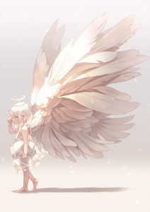 Rating: Safe Score: 0 Tags: 1girl barefoot blue_eyes dress full_body halo highres holding long_hair looking_to_the_side narumi_arata original pillow profile rubbing_eyes shadow silver_hair simple_background sleepy solo walking white_dress white_wings wings User: DMSchmidt