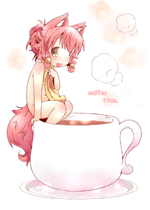 Rating: Questionable Score: 2 Tags: 1girl animal_ears blush coffee coffee_cup cup disposable_cup flat_chest green_eyes hair_bobbles hair_ornament hirayuki_rio looking_at_viewer minigirl naked_towel nude open_mouth original pink_hair sitting smile soft_color solo steam tail text towel User: Domestic_Importer