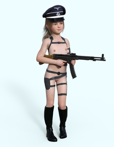 Rating: Explicit Score: 6 Tags: 1girl 3dcg blue_eyes boots brown_hair cetarn flat_chest hat long_hair nazi nipples nude photorealistic pose pussy rifle shadow smile standing User: fantasy-lover