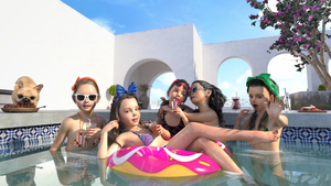 Rating: Safe Score: 26 Tags: 3dcg 5girls apoquel_(artist) barefoot bow dog flat_chest hair_bow looking_at_viewer multiple_girls nail_polish open_mouth photorealistic pool smile sunglasses water User: fantasy-lover
