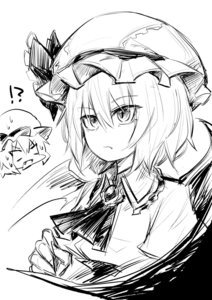 Rating: Safe Score: 0 Tags: !? 2girls absurdres ascot bangs bat_wings blank_eyes bow closed_mouth eyebrows_visible_through_hair eyes_visible_through_hair fang fang_out flandre_scarlet frilled_bow frilled_shirt_collar frills greyscale hair_between_eyes hand_up hat hat_bow head_only highres mob_cap monochrome multiple_girls oninamako open_mouth remilia_scarlet serious short_hair short_sleeves simple_background sketch slit_pupils surprised sweat the_embodiment_of_scarlet_devil touhou_project upper_body white_background wing_collar wings User: DMSchmidt