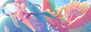 Rating: Safe Score: 0 Tags: 2girls ;d absurdres arm_support ascot bare_arms bat_wings blonde_hair blue_hair blue_sky bow closed_eyes crossover crystal day dragonair dress flandre_scarlet floating_hair flying frilled_shirt_collar frilled_sleeves frills gen_1_pokemon gen_2_pokemon hand_up hat hat_bow hat_ribbon headwear_removed highres ho-oh jun700 looking_at_another medium_hair mob_cap multiple_girls one_eye_closed open_mouth orange_eyes outdoors pink_dress pokemon pokemon_(creature) puffy_short_sleeves puffy_sleeves red_bow red_neckwear red_ribbon red_skirt red_vest remilia_scarlet ribbon riding shirt short_hair short_sleeves siblings sisters skirt skirt_set sky smile touhou_project vest white_shirt wings wrist_cuffs yellow_eyes yellow_neckwear zubat User: DMSchmidt