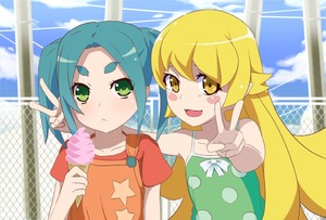 Rating: Safe Score: 2 Tags: 2girls :3 :< aqua_hair blonde_hair blue_sky blush_stickers cloud collarbone day double_v dress eyebrows fang flat_chest food green_eyes ice_cream ice_cream_cone long_hair looking_at_viewer monogatari_(series) multiple_girls nisemonogatari ononoki_yotsugi open_mouth oshino_shinobu outdoors pointy_ears servachok shirt short_hair sky sleeveless sleeveless_dress smile t-shirt thick_eyebrows tsukimonogatari twin_tails upper_body v yellow_eyes User: DMSchmidt