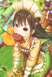 Rating: Safe Score: 1 Tags: 1girl 3others :t abo_(kawatasyunnnosukesabu) apron back_bow bangs black_eyes black_hair bow bridal_gauntlets checkered checkered_bow cherry cherry_hair_ornament eating food food_in_mouth food_themed_hair_ornament frilled_apron frills fruit grass green_skirt ground_vehicle hair_ornament headdress holding long_sleeves looking_at_viewer maid maid_headdress motor_vehicle mouth_hold multiple_others orange orange_slice original outdoors pond racing riding sash shirt skirt taiyaki wagashi yellow_shirt User: DMSchmidt