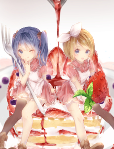 Rating: Safe Score: 2 Tags: 2girls :p apron blonde_hair blue_eyes blue_hair blueberry brown_footwear cake dress food fruit hatsune_miku highres holding kagamine_rin leaf looking_at_viewer minigirl multiple_girls one_eye_closed plate puffy_short_sleeves puffy_sleeves red_dress shiromi shoes short_sleeves single_thighhigh smile strawberry syrup thighhighs tongue tongue_out twin_tails vocaloid white_background User: DMSchmidt