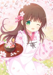 Rating: Safe Score: 0 Tags: 1girl ;d anko_(gochiusa) apron bangs blunt_bangs blush bowl brown_hair cherry_blossom_print cowboy_shot eyebrows_visible_through_hair flat_chest flower food frilled_apron frills fruit gochuumon_wa_usagi_desu_ka? green_eyes hair_flower hair_ornament holding holding_tray japanese_clothes kimono long_hair long_sleeves looking_at_viewer maid_apron minamo_(azsprinkle) one_eye_closed open_mouth pink_flower pink_kimono pink_ribbon print_kimono ribbon smile solo standing strawberry tray ujimatsu_chiya white_apron wide_sleeves User: DMSchmidt