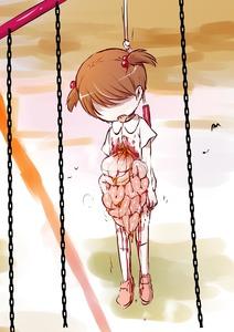 Rating: Explicit Score: 1 Tags: 1girl blood guro hanging harasaki intestines jump_rope snuff suspender_skirt swing twin_tails vomit User: kuro