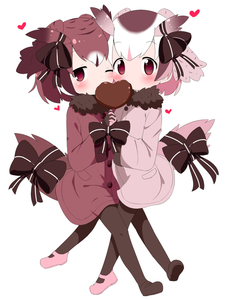 Rating: Safe Score: 2 Tags: 10s 2girls adapted_costume blush bow cheek-to-cheek chocolate coat eurasian_eagle_owl_(kemono_friends) eyebrows_visible_through_hair food_in_mouth fur_collar gloves hands_together head_wings heart heart-shaped_pupils highres interlocked_fingers kemono_friends long_sleeves looking_at_viewer makuran mouth_hold multicoloured_hair multiple_girls northern_white-faced_owl_(kemono_friends) one_eye_closed pantyhose short_hair simple_background symbol-shaped_pupils tail_feathers white_background User: Domestic_Importer