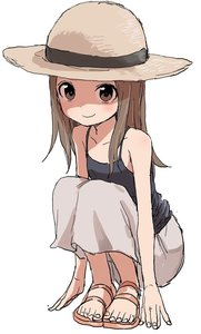 Rating: Safe Score: 0 Tags: 1girl absurdres bare_arms bare_shoulders blush brown_eyes brown_hair camisole closed_mouth fingernails full_body grey_skirt hat highres karakai_jouzu_no_takagi-san long_skirt looking_at_viewer no_socks sandals simple_background skirt smile solo squatting straw_hat takagi-san toenails white_background yamamoto_souichirou User: DMSchmidt