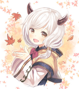 Rating: Safe Score: 0 Tags: 1girl :d artist_name blush bowtie brown_eyes demon_horns falling_leaves from_side granblue_fantasy hair_tubes hibanar horns kumuyu leaf leaf_background long_sleeves low_twintails open_mouth red_bowtie short_hair signature smile solo twin_tails upper_body User: DMSchmidt