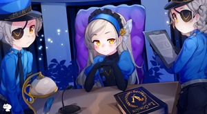 Rating: Safe Score: 3 Tags: 3girls black_gloves blush book braid caroline_(persona_5) chair desk double_bun elbow_gloves eyepatch flat_chest gloves hair_bun hairband hat headband highres justine_(persona_5) lavenza long_hair long_sleeves looking_at_viewer lounge_chair microphone multiple_girls necktie persona persona_5 proofmeh siblings sisters smile twin_braids twins yellow_eyes User: DMSchmidt