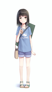 Rating: Safe Score: 0 Tags: 1girl arm_at_side bag black_hair blue_shirt blue_shorts blush brown_eyes cup drink drinking_straw flat_chest full_body handbag highres holding holding_cup jewellery looking_at_viewer medium_hair necklace original sandals shirt short_shorts shorts simple_background smile solo standing t-shirt too-ye User: DMSchmidt