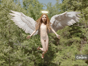 Rating: Questionable Score: 31 Tags: 1girl 3dcg angel barefoot cetarn flat_chest flying halo long_hair looking_at_viewer navel nipples nude photorealistic pussy red_hair smile wings User: fantasy-lover