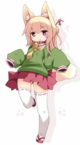 Rating: Safe Score: 3 Tags: 1girl animal_ear_fluff animal_ears ass_visible_through_thighs bangs bell bell_collar blonde_hair blush borrowed_character collar drop_shadow eyebrows_visible_through_hair fox_ears fox_girl fox_tail full_body green_shirt hair_bun hair_ornament hair_stick highres jingle_bell karukan_(monjya) kemomimi-chan_(naga_u) leg_up light_blush long_sleeves miniskirt open_mouth original paw_print pleated_skirt red_eyes red_footwear red_skirt ribbon-trimmed_legwear ribbon_trim sailor_collar sandals school_uniform serafuku shiny shiny_hair shirt simple_background skirt sleeves_past_fingers sleeves_past_wrists solo standing standing_on_one_leg tail thighhighs tied_hair white_background white_legwear white_sailor_collar zettai_ryouiki zouri User: DMSchmidt