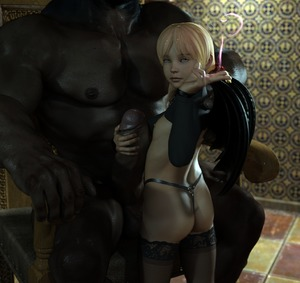 Rating: Explicit Score: 38 Tags: 1boy 1girl 3dcg age_difference ass black_legwear blonde_hair brown_skin closed_mouth dark_skinned_male demon_girl demon_wings erection flat_chest hand_on_another's_penis head_out_of_frame highres imminent_fellatio interracial looking_at_viewer looking_back mayomaru nipples original penis photorealistic pose sitting smile standing succubus thighhighs thong tile_floor uncensored underwear v wings User: Domestic_Importer