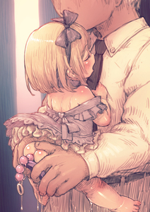 Rating: Explicit Score: 53 Tags: 1boy 1girl age_difference anal anal_beads anal_object_insertion ass bare_shoulders barefoot black_hairband black_neckwear black_ribbon blonde_hair blush carrying closed_eyes dress feral_lemma hair_ribbon hairband highres necktie object_insertion open_mouth original purple_dress pussy_juice ribbon sex_toy short_hair size_difference sketch toddlercon User: Domestic_Importer