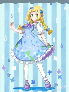 Rating: Safe Score: 0 Tags: 1girl alternate_costume aqua_nails artist_name blonde_hair blue_background blue_dress blue_flower blush braid closed_mouth cloud creatures_(company) dress fingernails flat_chest flower frilled_dress frills full_body game_freak green_eyes hair_flower hair_ornament hair_tie hand_up happy light_blush lillie_(pokemon) long_hair looking_at_viewer miu_(miuuu_721) nail_polish nintendo outline pantyhose pokemon pokemon_(game) pokemon_sm puddle purple_footwear rain see-through shiny shiny_hair shoes short_sleeves signature smile solo standing striped striped_background tied_hair twin_braids twin_tails white_flower white_legwear white_outline User: DMSchmidt