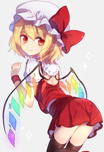 Rating: Safe Score: 2 Tags: 1girl ascot ass back bat_wings black_legwear blonde_hair bow closed_mouth crystal eyebrows_visible_through_hair flandre_scarlet from_behind hat hat_bow hat_ribbon kohaku. laevatein looking_at_viewer looking_back miniskirt mob_cap puffy_short_sleeves puffy_sleeves red_eyes ribbon short_hair short_sleeves side_ponytail simple_background skirt skirt_set smile solo thighhighs touhou_project wings wrist_cuffs zettai_ryouiki User: DMSchmidt