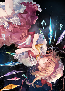 Rating: Safe Score: 0 Tags: 1girl album_cover ascot black_background blonde_hair closed_eyes closed_mouth cover crystal eyebrows_visible_through_hair facing_viewer feet_out_of_frame flandre_scarlet frilled_shirt_collar frills hands_clasped hat hat_ribbon hirai_yuzuki interlocked_fingers mob_cap musical_note own_hands_together petticoat puffy_short_sleeves puffy_sleeves red_ribbon red_skirt red_vest ribbon shirt short_hair short_sleeves skirt skirt_set smile solo sparkle touhou_project upside-down vest white_shirt wings yellow_neckwear User: DMSchmidt