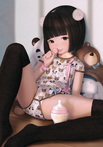 Rating: Questionable Score: 29 Tags: 1girl bangs black_hair blunt_bangs bottle brown_eyes candy flat_chest hideousbeing licking lollipop looking_at_viewer pantsu panty_peek pose sexually_suggestive sitting smile stuffed_animal stuffed_toy thighhighs tongue underwear User: fantasy-lover