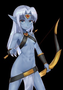 Rating: Questionable Score: 7 Tags: 1girl absurdres arrow belt bikini bikini_top black_bikini blue_skin bow_(weapon) breasts capcom character_request circlet copyright_request dark_elf elf gem groin highres holding huge_filesize long_hair navel nopan pelvic_curtain pointy_ears silver_hair simple_background small_breasts solo swimsuit vambraces wardrobe_malfunction weapon white_background User: Domestic_Importer