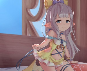 Rating: Safe Score: 3 Tags: 1girl bangs bare_shoulders bed_sheet blue_eyes blunt_bangs blush bow bracelet breasts closed_mouth collarbone day dress eyebrows_visible_through_hair frilled_skirt frills granblue_fantasy hair_bow highres indoors jefflink jewellery lilele_(granblue_fantasy) long_hair looking_at_viewer navel pillow pointy_ears silver_hair skirt sky sleeveless small_breasts smile solo stomach_cutout window User: Domestic_Importer