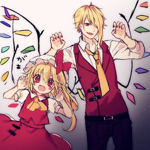Rating: Safe Score: 0 Tags: 1boy 1girl :d ascot bangs black_pants blonde_hair blush bow claw_pose cowboy_shot crystal dual_persona eyebrows_visible_through_hair fang flandre_scarlet genderswap genderswap_(ftm) grey_background hair_between_eyes hands_up hat hat_bow height_difference highres kyouda_suzuka light_particles long_sleeves looking_at_viewer mob_cap nail_polish necktie open_mouth pants petticoat red_bow red_eyes red_nails red_skirt red_vest shirt sketch skirt skirt_set smile standing touhou_project translation_request vest white_hat white_shirt wing_collar wings yellow_neckwear User: DMSchmidt