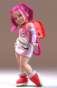 Rating: Safe Score: 13 Tags: 3dcg animal_ears artist_request backpack bag dress golden_eyes hairband my_little_pony photorealistic pink_hair sidelocks tail User: pippy