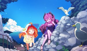 Rating: Safe Score: 3 Tags: 2girls :d ahoge bird blue_sky bow breasts bush cloud day doremi downblouse dress earrings fang gem green_bow hand_on_headwear hat hat_bow highres horns jewellery long_hair looking_at_viewer multiple_girls no_socks ocean open_mouth outdoors pointy_ears purple_dress purple_hair purple_skin railing red_eyes rock sandals seagull sky small_breasts smile stairs sun_hat sundress tree yellow_dress User: Domestic_Importer